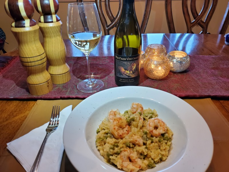 pinot blanc with shrimp risotto